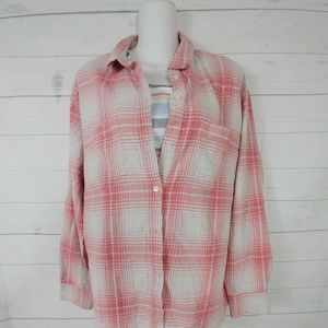 Madewell Flannel Sunday Shirt In Pink Plaid  Sz XL